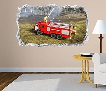 3d Wandtattoo Feuerwehr Feuerwehrmann Auto Helm Wasser Feuer Wand