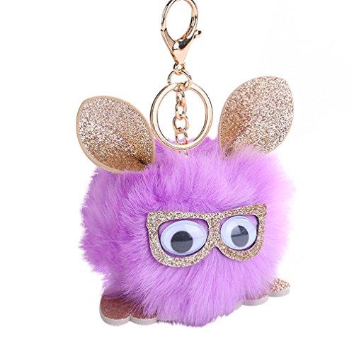 Little rock Lovely Cartoon Owl Wearing Glasses Faux Fur Bag Pendant Key Chain - Rock Glasses Little
