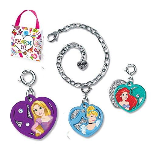 (CHARM IT! Disney Princesses Ariel Rapunzel & Cinderella Two Part Hearts Charm Bracelet Ribbon Carry Pouch Set)