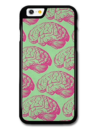 Funny Gross Cool Pink Brain Illustrations on Green case for iPhone 6 6S