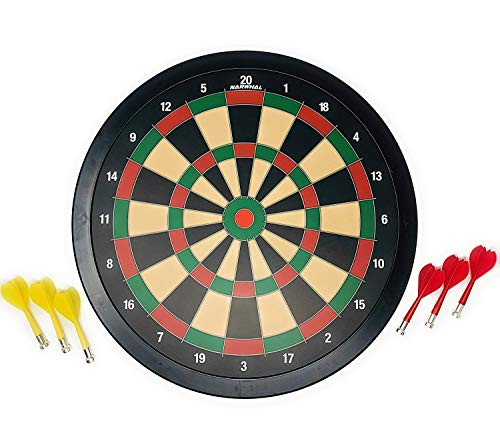 Narwhal Magnetic Dartboard Set 15.5 Inch Dart Board with 6 Magnetic Darts, Safe for Kids and Adults, Gift for Game Room, Office, Man Cave and Home, Garage.