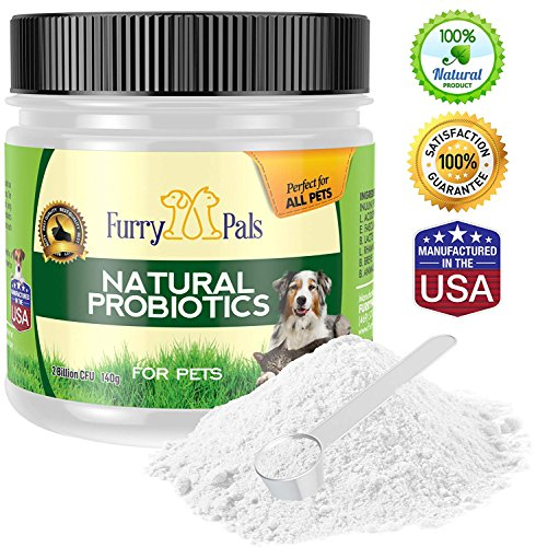 FurryPals Natural Probiotics For Pets, Dietary Supplement For Cats & Dogs with Measuring Cup. Jumbo Size - 140g! (Large) (Furry Pal)
