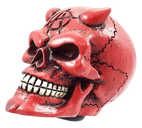 [Red Satan Lucifer Horned Devil Demonic Skull Car Shift Knob Figurine Auto Styler] (Demonic Masks)