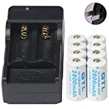 Charger designed to charge batteries quickly battery cell charger 2800mah li-ion rechargeable 8pcs 16340 cr123 3.7v gtl