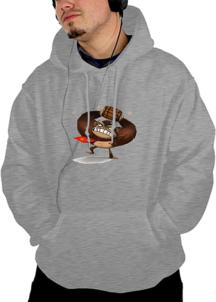 Qeeww Mens Pullover Hoodies Casual Cartoon Orangutans Sports Outwear Sweatshirts