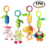 HTOYES Baby Rattle Hanging Toys 4 Pack Baby Handbells Rattles Soft Plush Development Toys Colorful Frog Elephant Owl Lamb for Newborn Infant Birthday Present