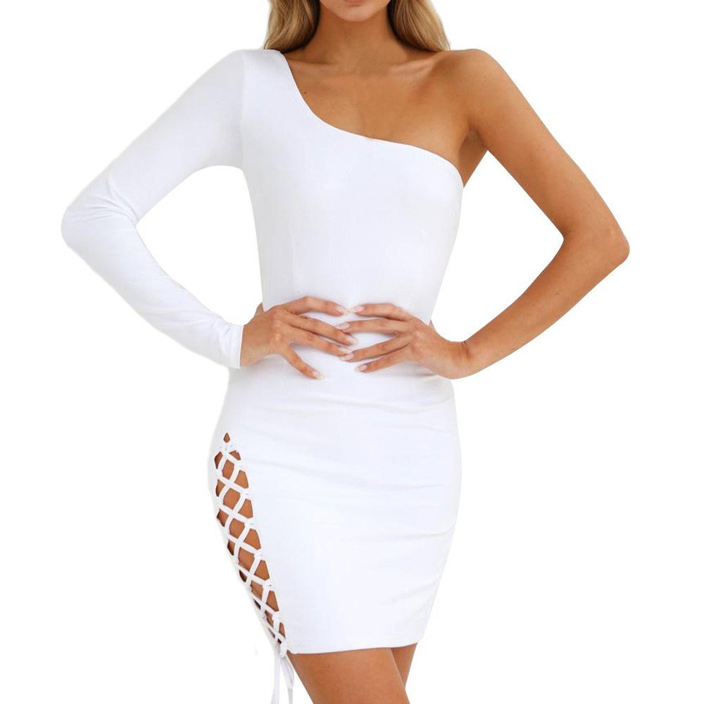 Off Shoulder Dresses for Women Casual Summer Bodycon One Long Sleeve Bandage Evening Party Dress