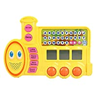 Pasaca Toys Kids Talking Learning Train with LCD Screen with 7 Learning Game, Touch Tablet, Learning ABC, Spelling, Numbers (Yellow)