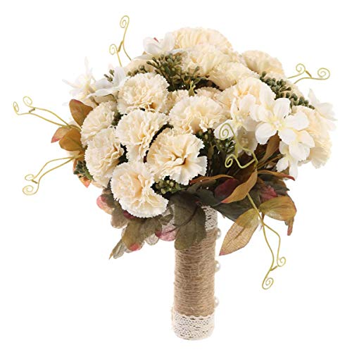 Photo Holding Ball - BESTOYARD Bride Holding Flowers Bridal Wedding Bouquet Ball Simulation Seascape Fake Photo Studio Photography Props (Autumn Carnation Champagne)