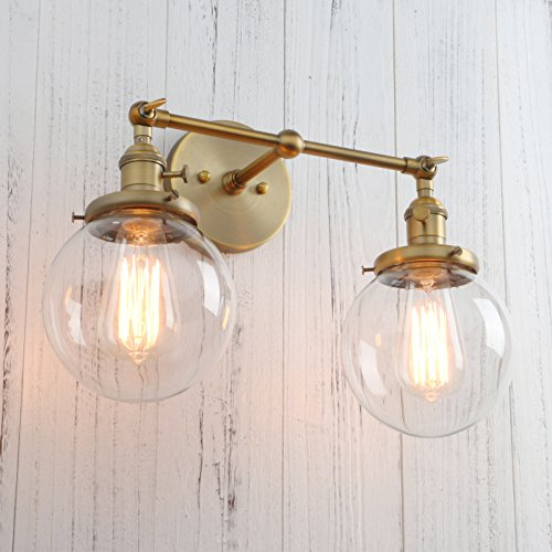 Permo Double Sconce Vintage Industrial Antique 2-Lights Wall Sconces with Dual Mini 5.9'' Round Clear Glass Globe Shade (Antique) by PERMO (Image #3)