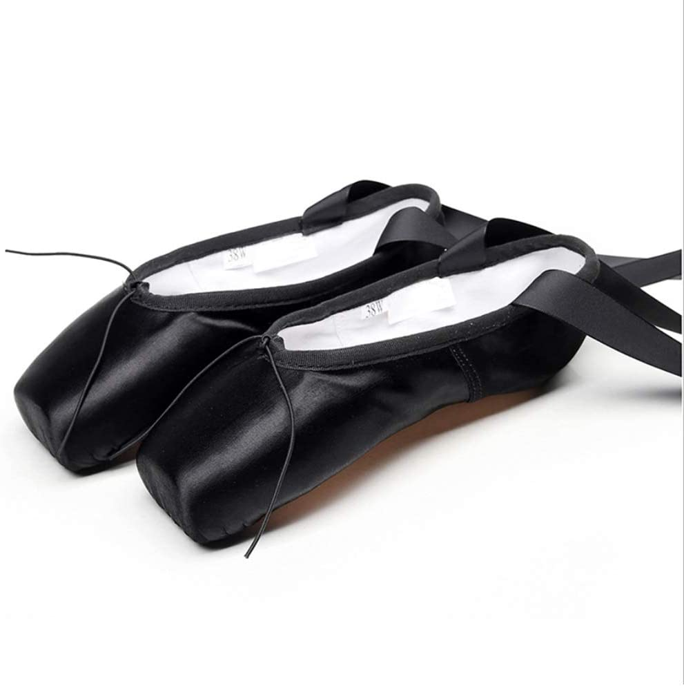 YMMONLIA Chaussures de Ballet de Pointe pour La Danse Classique avec Rubans de Satin et Prot/ège-Orteils pour Ballerines Femme Fille Prendre Une Taille au Dessus