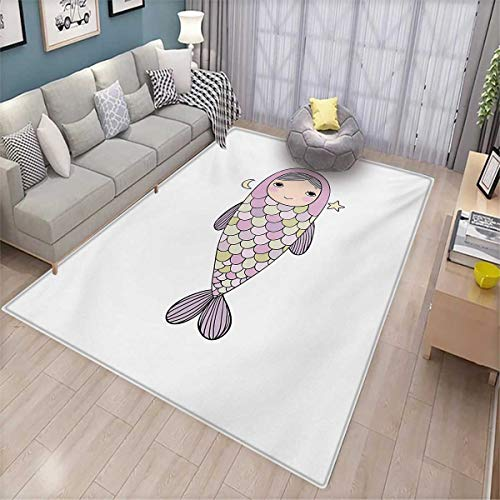 Mermaid Anti-Static Area Rugs Fantasy Sea Life Mythological Character Girl in Fish Costume with Crown Moon Stars Children Kids Nursery Rugs Floor Carpet 5'8