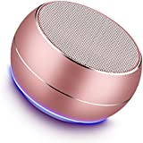 Portable Bluetooth Speakers-Lenrue Mini Wireless Outdoor Rechargeable Speakers with LED,Built-in-Mic,Handsfree Call,AUX Line,TF Card,HD Stereo Sound and Bass for Iphone Ipad Android Phone Rose Gold