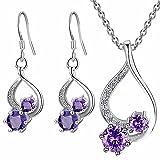 Majesto 925 Sterling Silver Purple Drop Pendant Necklace Dangle Earrings Set for Women Teen Girls Prime Gift