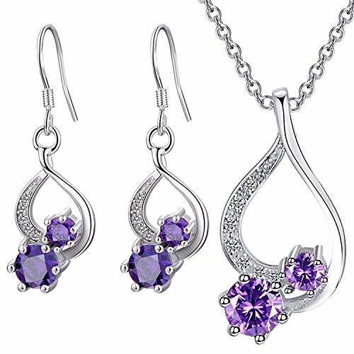 Majesto 925 Sterling Silver Purple Drop Pendant Necklace Dangle Earrings Set for Women Teen Girls Prime Gift by Majesto