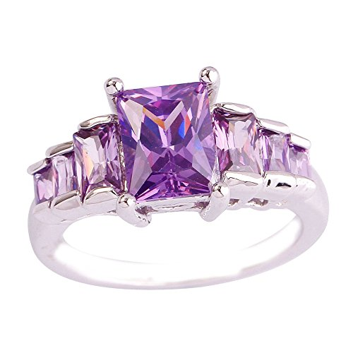 Empsoul Women's 925 Sterling Silver Natural Gorgeous Filled 7 Stone Emerald Cut Amethyst Topaz Proposal Ring