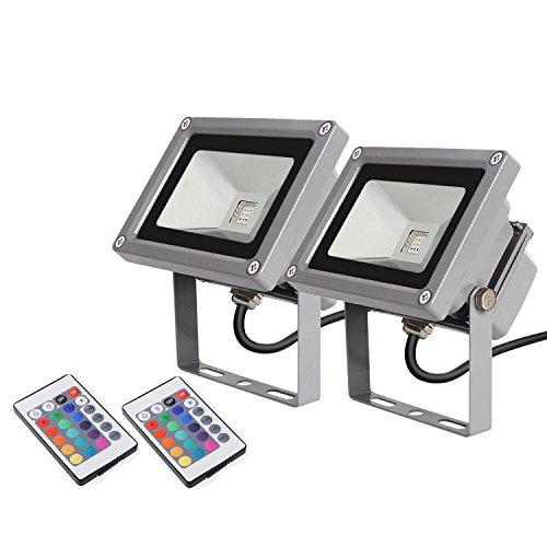 Komplett Neu 2 × amzdeal LED RGB 16 Farben Fluter Außen Strahler Scheinwerfer  WM04