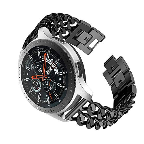 LDFAS Gear S3 Band, 22mm Stainless Steel Metal Cowboy Chain Watch Strap Compatible for Samsung Galaxy Watch 46mm, Gear S3 Frontier/Classic Smartwatch, Black