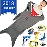 CozyBomB Cozy Kids Snuggie Tails by Durable Seamless Enlarged Design - no Holes or Tears - Snuggle Shark Blanket - Grey Plush Throw Sleeping Bag with Fin and Blankie birthday Gift For Boys and Girls