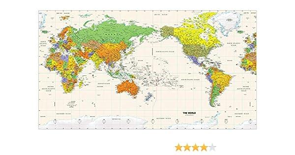 Mapa de pared del mundo centrado en el Pacífico, de plástico mate de 61 x 33.5 pulgadas: Amazon.es: Oficina y papelería