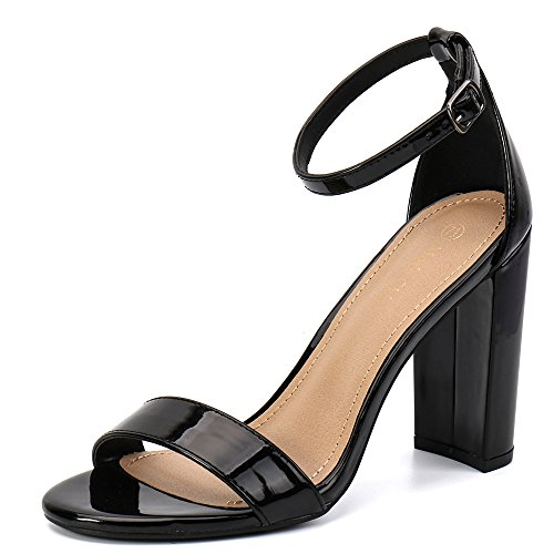 Moda Chics Women's High Chunky Block Heel Pump Dress Sandals Black Patent PU 7.5 D(M) US