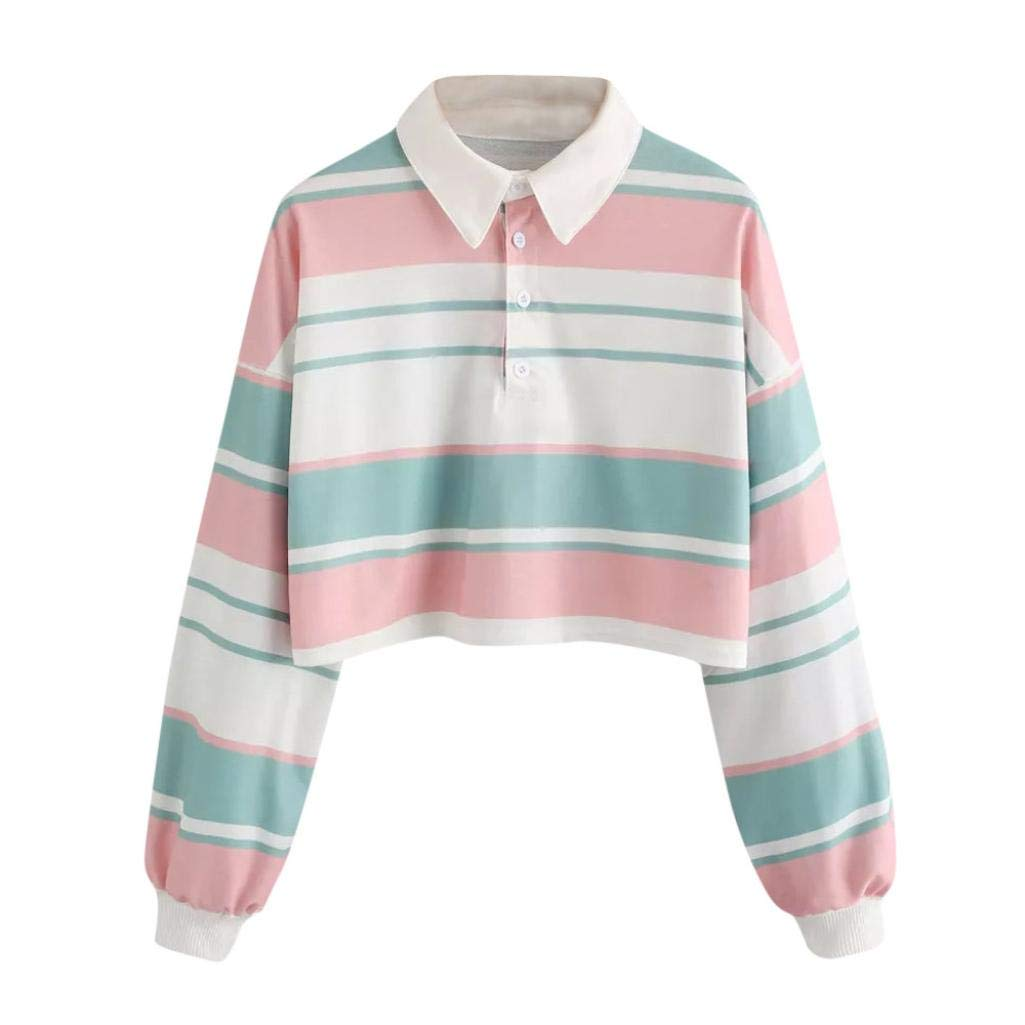 1edc14279f479d Women Teen Girls Fashion Turn-Down Collar Crop Top Sweatshirt Long Sleeve  Color Block Pullover Shirts at Amazon Women's Clothing store: