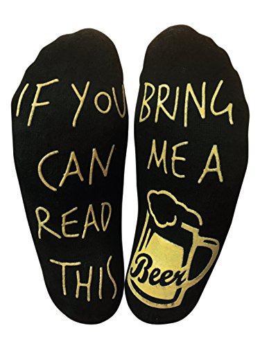 If you can read this bring me a beer Funny Novelty Socks for a Beer Lover (Ankle Lounge Socks)