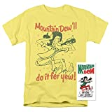 Mountain Dew Will Dew It T Shirt & Exclusive Stickers (Large) Banana Large