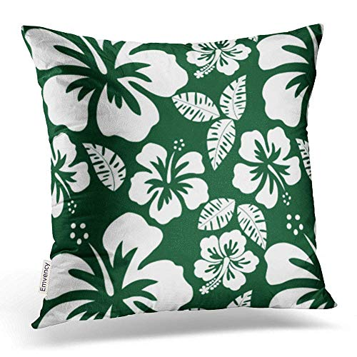 Throw Pillow Covers Forest Green Hawaiian Tropical Hibiscus Pillowcases Polyester 16 X 16 Inch Square with Hidden Zipper Home Sofa Cushion Decorative Pillowcase