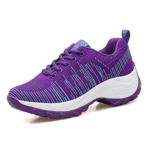 JOYBI Womens Running Sneakers Lightweight Breathable Shoes Mesh Tennis Shoes Sport Outdoor Platform Walking Shoes Purple