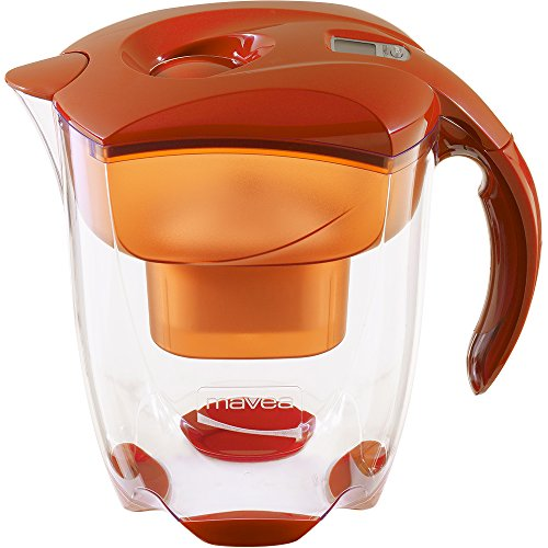 MAVEA 1005772 Elemaris XL 9-Cup Water Filtration Pitcher, Tangerine