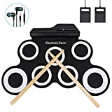 Jacksoo Portable Roll Up Drum, Electronic Digital Drum Pad Kit Musical Practice Instrument with Build in Speaker Foot Pedals Drum Sticks for Kids Beginners Children (Not Built-in Speaker)