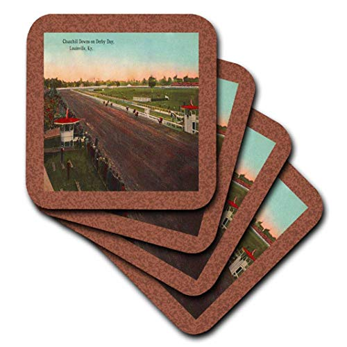 - 3dRose cst_36379_3 Vintage Louisville Churchill Downs-Gilliam Collection-Ceramic Tile Coasters, Set of 4