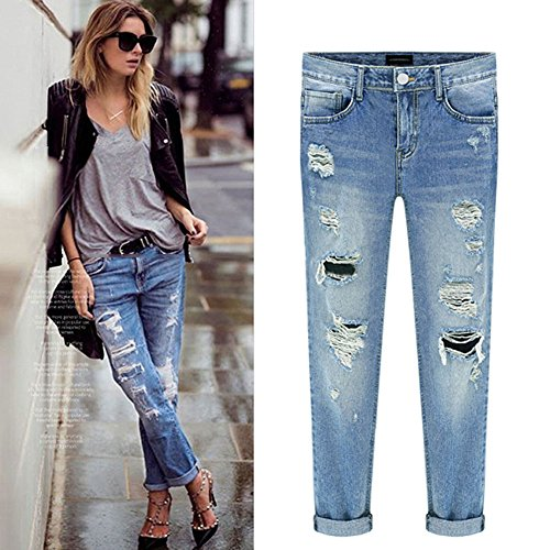 Pantaloni Matita Strappato Chiyeee Jeans Sottili Stretch Denim Donna Leggings Lunghi wqpwOxBPY