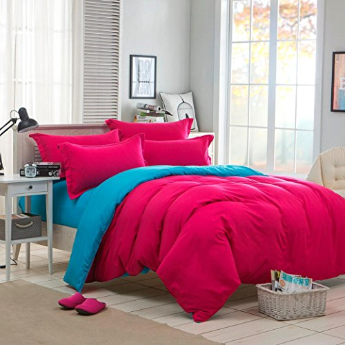 Twin Hugger Comforter Set (Ikevan Home Textiles Bed sets Sheet Breathable and Luxuriously Soft Duvet Cover+ Flat Sheet +Pillowcases (Twin Size, Hot Pink))