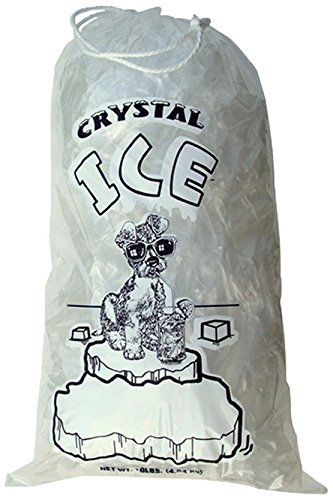 (Crystal Clear Plastic Ice Bags with Cotton Draw String, 10 lb., Pack of 100)