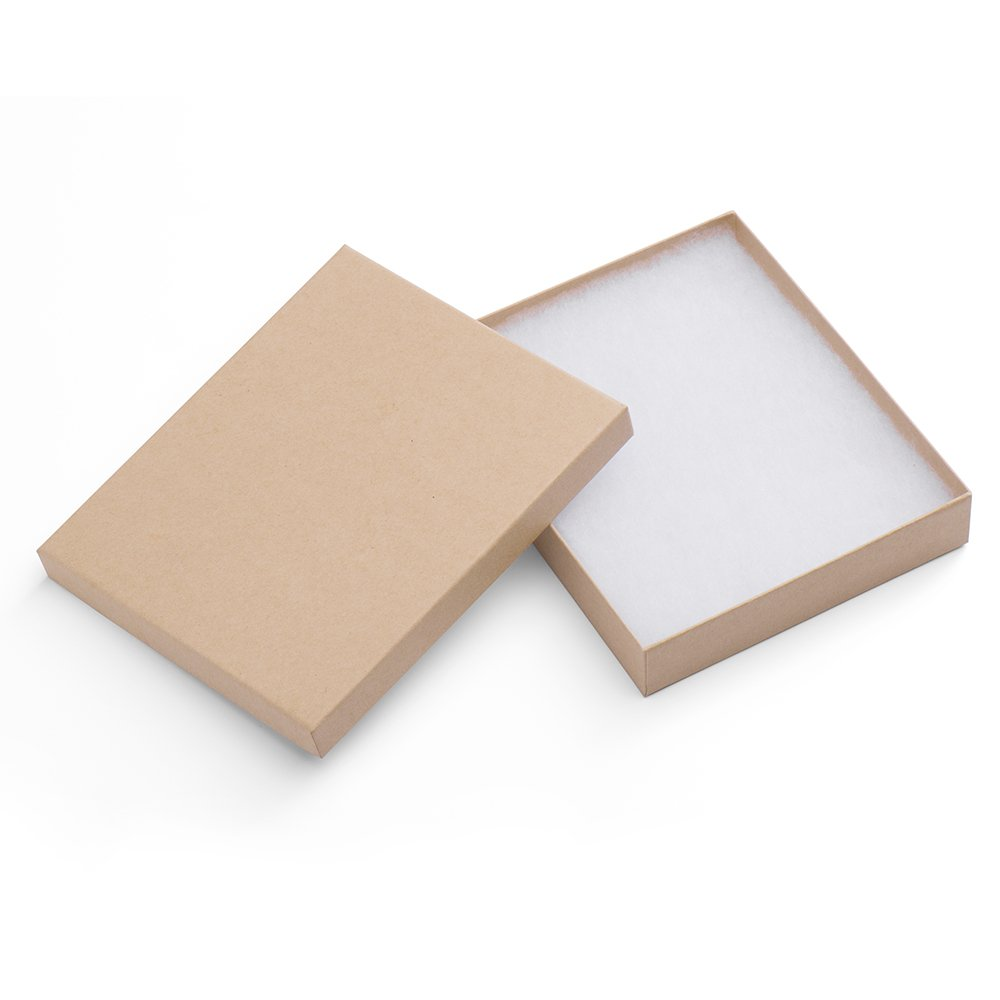 MESHA Cardboard Paper Box for Jewelry and Gift 6x5x1 Inch Thick Natural Brown Paper Box With Cotton Lining, pack of 10 59864