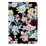 niceeshop(TM) Black Flower Floral Style Wallet Flip Magnet Stand Leather Case Cover for iPad Mini iPad Mini 1 Mini 2 With Screen Protector