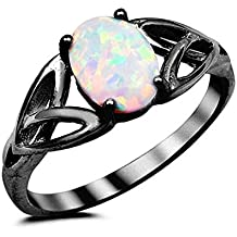 Solitaire Celtic Shank Engagement Ring Oval Lab Created White Lab Black Tone Plated 925 Sterling Silver