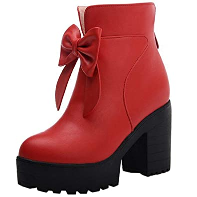 f1d21926d767 Vitalo Womens Chunky High Heel Platform Ankle Boots with Bow Zip Up Autumn  Winter Shoes Size