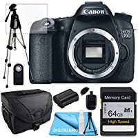 Canon 70D Body + Extra Battery, 64GB SD SDHC Class 10 Memory Card, Tale Top Tripod, Camera Case, USB Card Reader, Table Top Tripod, Lens Cleaning Kit and LCD Screen Protectors