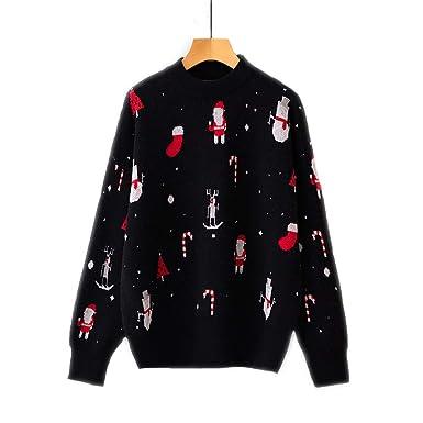 FELZ Suéter de Manga Larga de Navidad para Mujer Blusa De Punto ...