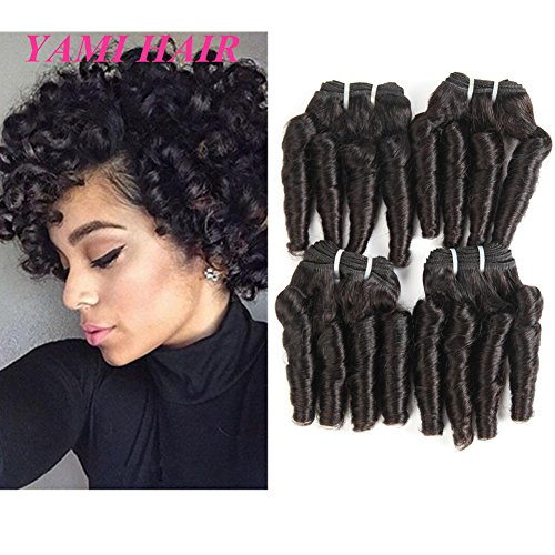 YAMI 8A Brazilian Virgin Funmi Hair Loose Wave 4 Bundles Spiral Curl Hair Bundles Short Curly Weave Unprocessed Brazilian Human Hair Extensions 50g/pc Full Head Natural Black 200g (8 8 8 8) (Best Hair Products For Curly Weave)