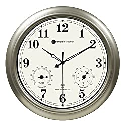 Ambient Weather RC-1800WSTH 18 Indoor/Outdoor Radio Controlled Wall Clock with Temperature & Humidity