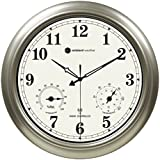 "Ambient Weather RC-1800WSTH 18"" Indoor / Outdoor Radio Controlled Wall Clock with Temperature & Humidity"