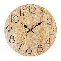 llsmting Wall Clocks for Living Room Wood Home Decor Modern Wood Vintage Rustic Antique Shabby Retro Home Kitchen Room Silent Design Beautiful and Durable