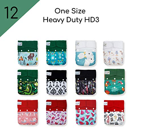 12 Kawaii Baby One Size Heavy Duty HD3 Reusable Baby Cloth Diapers + 24 Super Absorbent Stay-Dry Microfiber Inserts for Babies 8-36 lbs