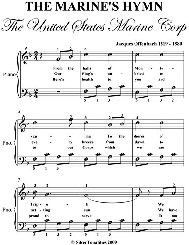 United States Marine Corps Hymn Offenbach Easy Piano Sheet ()