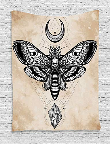 Ambesonne Fantasy Tapestry, Dead Head Hawk Moth with Luna and Stone Ancient Magic Skull Illustration, Wall Hanging for Bedroom Living Room Dorm, 60 W X 80 L Inches, White Black and Cream