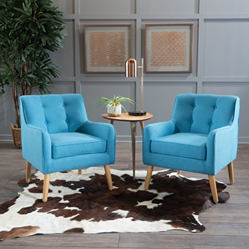 Christopher Knight Home 300573 Felicity Mid-Century Button Tufted Fabric Arm Chair (Set Of 2), Teal, Teal